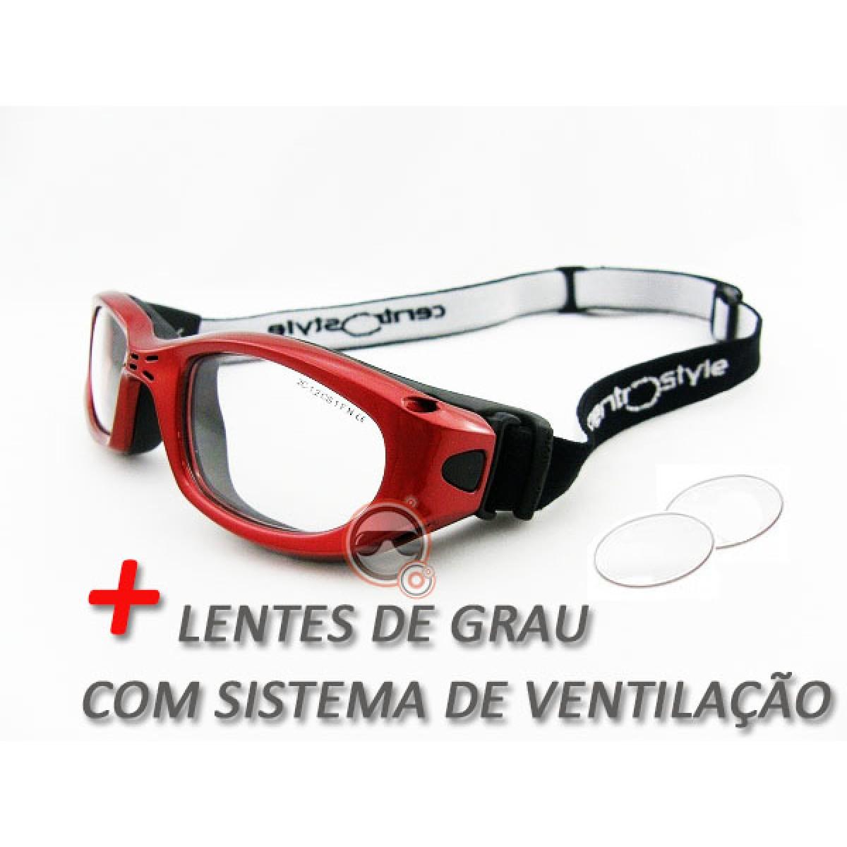 Óculos Centro Style Vermelho TM51 com lentes de Grau e Sistema de Ventilação 76868e17dc
